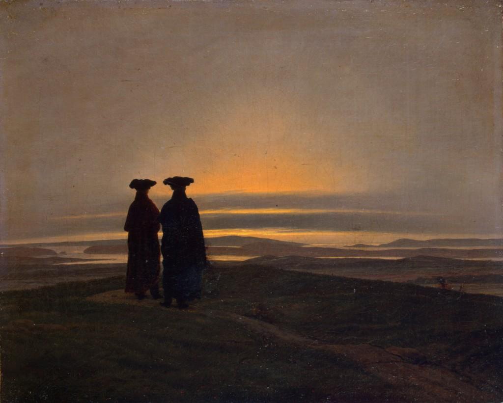 Peisaj de seara cu doi barbati